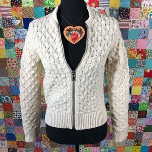 Gap Zip Front Cable Knit Cardigan Sweater